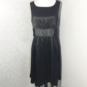 Nine West silk sleeveless, pleated lined dress.